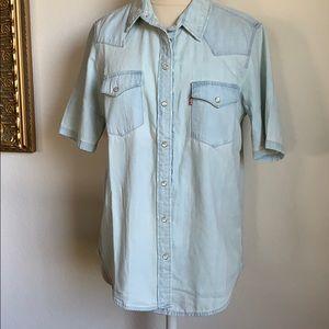 NWT Levi's western denim snap button shirt